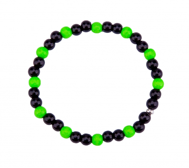 Mens bracelet black / green
