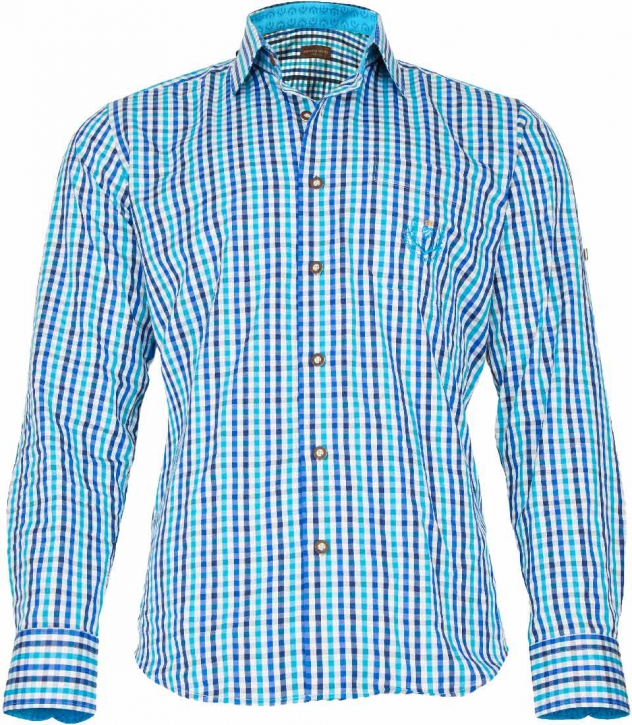 Trachten Shirt blue Slim fit