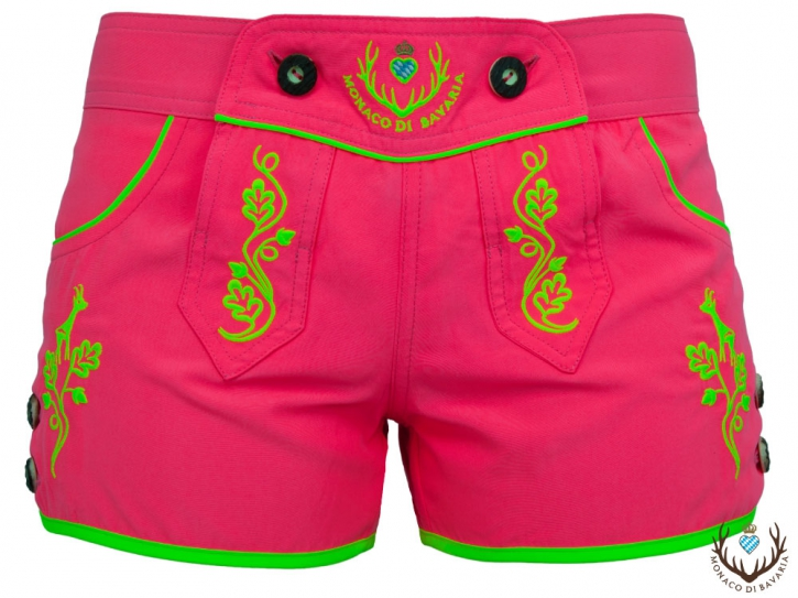 Ladies hotpants, pink/yellow