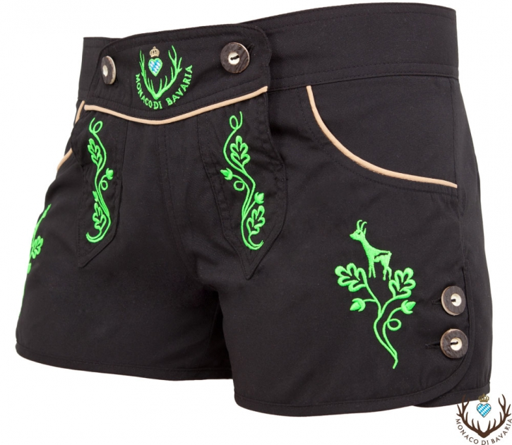 Ladies hotpants, black/green M