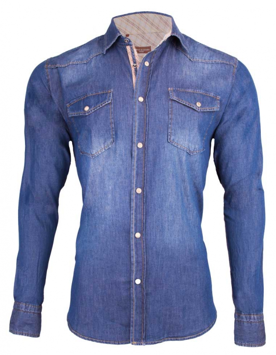 Denim shirt Monaco di Bavaria navy blue