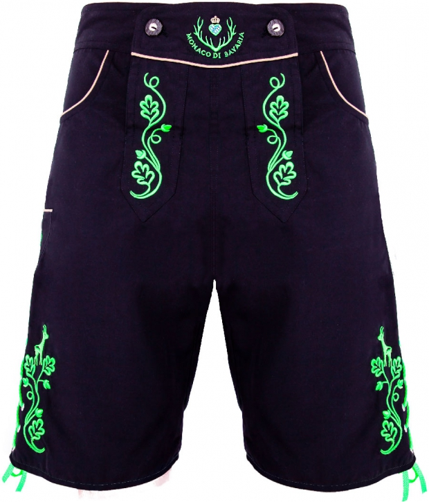 Miesbacher-Style: Bavarian trunks and leisure pants, black/green