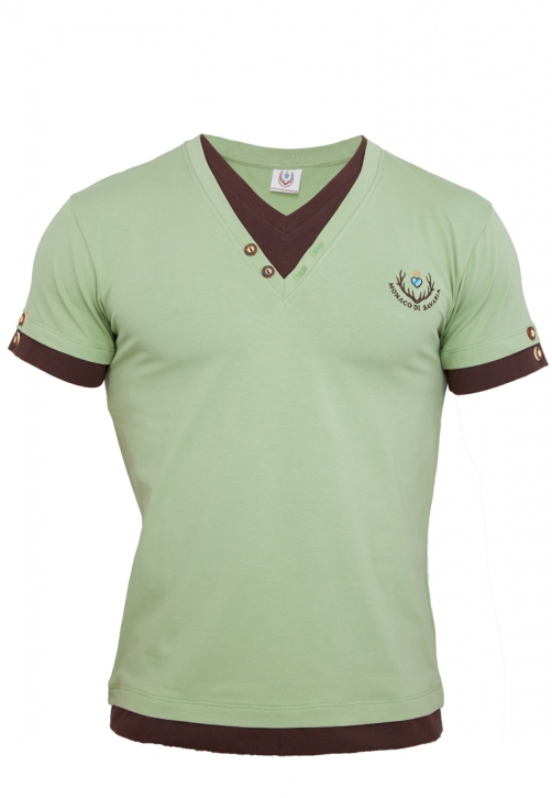 Mens T-shirt with double-optics, lightlime