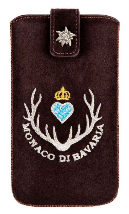 Smartphone Case,  Genuine suede darkbrown with Monaco di Bavaria Emblem