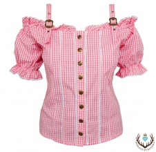 Ladies bavarian blouse with shoulder strap, pink