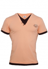 Mens T-shirt with double-optics, apricot