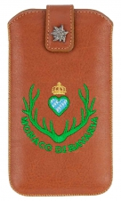 Smartphone Case, genuine leather cinnamon with Monaco di Bavaria Emblem