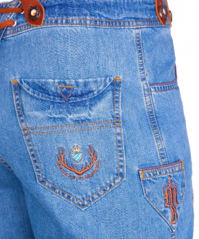 Men Bavarian Denim Shorts with suspenders, L